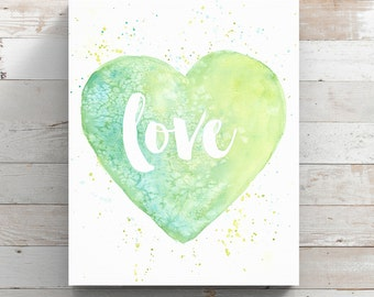 Love Heart Watercolor Canvas Print - Green Heart Painting - Canvas of Watercolor Love Quote - Original Art by Angela Weber