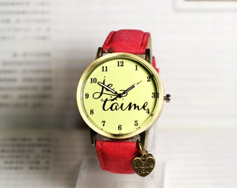 Je t'aime , love and heart ,Wrist watch, Women watch, Leather Watch ,Birthday gift, Special gift,Valentine's day gift