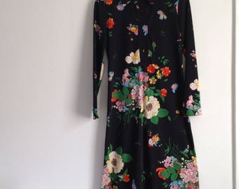 70s Maxi Dress, Black Floral Dress, Boho, Sports and Country Clothes, Lord & Taylor, women's size  Medium