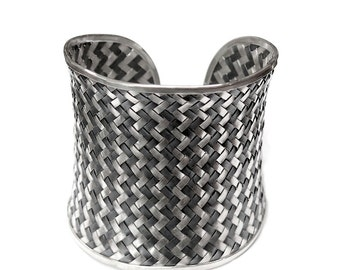 Wide Woven Sterling Silver Cuff Bracelet, Extra Wide Handmade Ethnic Tribal Braided Black and white silver Weave Bangle, Boho silver cuff