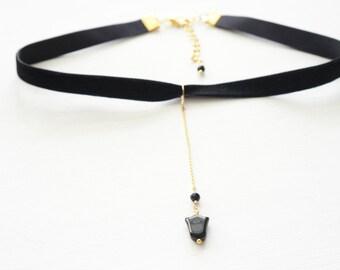 Choker necklace, Black choker, Tulip choker, Black and Gold Choker, Necklace, Jewelry, Gold choker, Bridesmaid Gift, Everyday Jewelry
