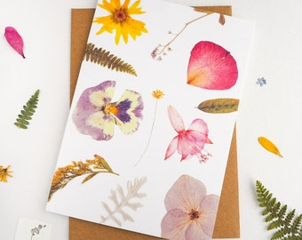Flower card, pressed flower greeting card, printed floral design