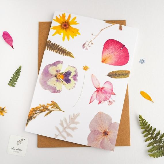 flower card pressed flower greeting card printed floral