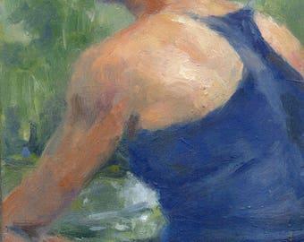 Misty Summer Morning. Oil Painting