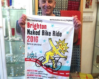 Tea towel by Mike Levy 'Brighton Naked Bike Ride 2016'