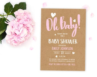 Kraft Paper baby shower invitation Girl, Rustic Baby Shower Invitation Girl, Printable Baby Shower Invitation Girl