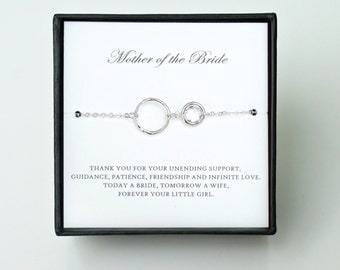 Mother of the Bride Gift from Daughter - Silver Eternity Bracelet, Wedding Jewelry & Thank You Card/ Wedding Day Gift for Mother from Bride
