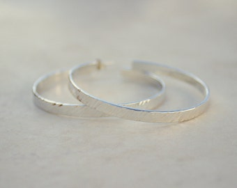 Size 5 Silver Diagonal Hammered Hoops, Argentium Silver Hoops, Silver Hoop Earrings, Handforged Silver, Everyday Earrings