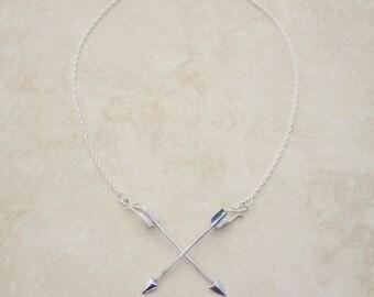 Crossed Arrows Necklace, Tarot Necklace Suit of Arrows, Silver Tarot Necklace, The Incidental Tarot, Silver Arrow Necklace