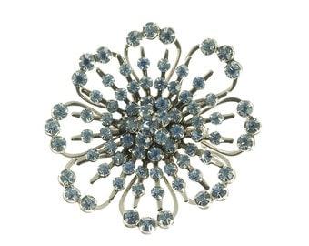 Blue Open Flower Brooch