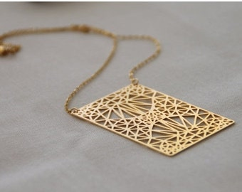 MIZYAN's gold plated rectangle necklace, triangles, geomertic accessories