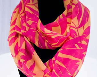 Hot Pink and Orange Infinity Scarf
