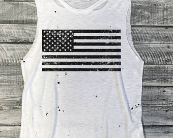 USA Flag Splatter Paint Muscle Tee, Destroyed, Raw Edge, Distressed, Workout Top,Gym Tank,Yoga Tank,Fitness,Gym Shirt,Graphic