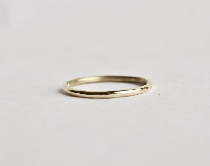 Gold Halo Ring -  9 Carat Yellow Gold Thin Ring - Unisex