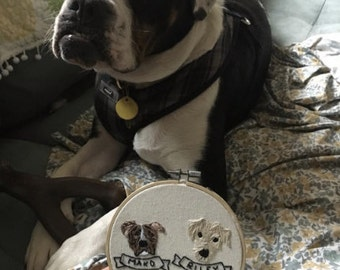 Custom Pet Portait - 2 or More Pets  Embroidery Custom Portrait Animal Lover Pet Lover Pet Memorial Gift Under 50