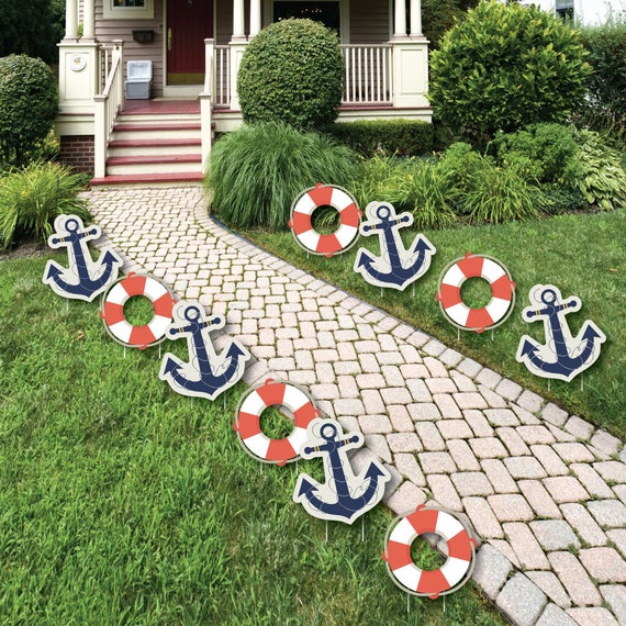 Ahoy Nautical Lawn Decorations Outdoor Baby Shower or