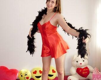 Vintage 80's Beth Michaels RED SATIN ROMPER Teddy Teddie Onesie Step In Cute SLeepwear Loungewear Camiknicker Teen Valentine Lingerie  - M