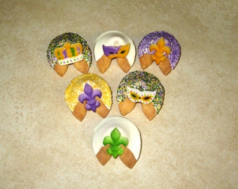 24 MARDI GRAS Fortune Cookies, Fat Tuesday, New Orleans, King Cake, Bouef Gras, Carnival