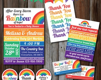 Printable Rainbow Baby Shower Invitation Set, Pregnant After A Loss, Bright, Thank You, Raffle Ticket, Banner, Cupcake Toppers, Labels,