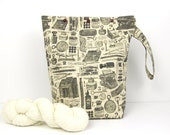 Medium tall project bag with snaps, writer's knitting bag, crochet organiser