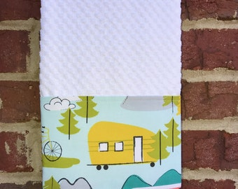 RV Towel, Camping Kitchen Dish Towel, Fabric Trimmed Waffle Weave Kitchen Tea Hand Towel in White, Old Travel Trailers, Happy Camper Gear