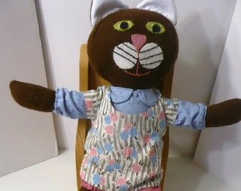 Cat Softie, Brown Cat Softie, Cat Plush, Fabric Cat Doll, Cat with Clothes, Stuffed Cat, Kitty Cat Doll, Gift for Kids, Gift for Cat Lover