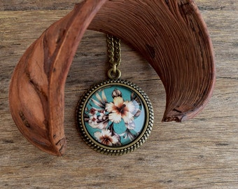 Hibiscus necklace, Tropical flower necklace, Hibiscus pendant, Hawaiian flower pendant, Exotic floral turquoise teal pendant necklace TJ 073