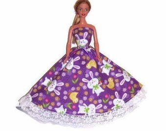 Fashion Doll Clothes-Easter Bunny & Chick Print Strapless Dress