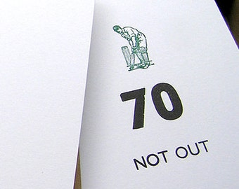 Letterpress Birthday card - 70 not out - cricket