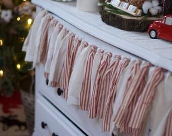 Red Ticking Farmhouse Rag Tie Garland-Rag Garland-Fabric Banner-Rustic Fabric Garland-Tassel Garland-Farmhouse Decor-Rustic Mantle Decor