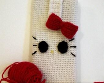 crochet Hello Kitty mobile phone case