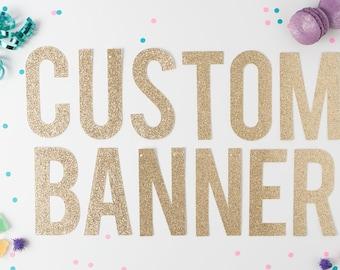 Custom Gold Glitter Banner, Custom Banner, Custom Letter Banner, Custom Silver Glitter Banner