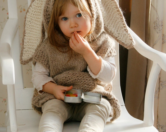 KNITTING PATTERN bunny poncho with hood Phoebe (toddler, child, adult woman sizes)