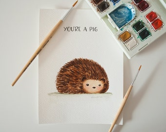 Funny Hedgehog Original Watercolor Painting - Inktober