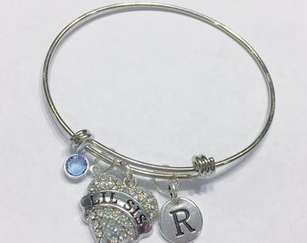Gift For Sister, Birthstone Initial Bangle Bracelet, Lil Sis Bracelet, Little Sister Bracelet, Valentine Gift, Mother's Day, Bangle Bracelet