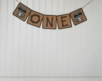 Woodland Party - Raccoon Banner - Woodland One Banner - Woodland Animal Themed One banner - Woodland Party