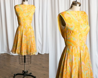 Charisma dress | vintage 60s dress | yellow silk chiffon 1960s dress | Pat Sandler for Highlight | yellow print chiffon 1960s party dress