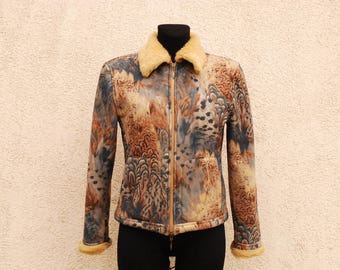 Vintage Abstract Print Jacket Brown Faux Leather Womens Jacket Psychedelic  Print Jacket 90s Colorful Blazer Zipper Jacket Medium Size