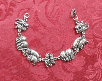 "Vintage Whimsical Bracelet ""Here Piggy Piggy"" and MORE PIGGIES in Silver Metal"