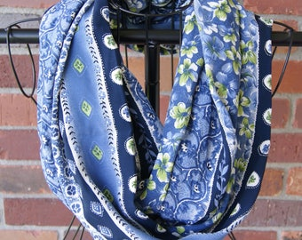 Striped Floral Blue Infinity Scarf
