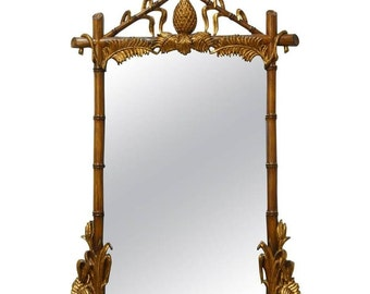Hollywood Regency Faux-Bamboo Gilt Mirror with Pineapple