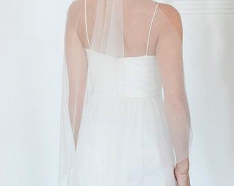 Wedding veil, drapey veil, ethereal veil, flowy veil, simple veil, soft veil, raw edge veil, one tier veil, ivory veil, white veil