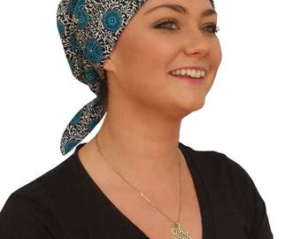 Gabrielle Pre-Tied Head Scarf -Women's Cancer Headwear, Chemo Scarf, Alopecia Hat, Head Wrap,  Head Cover for Hair Loss - Teal Medallions