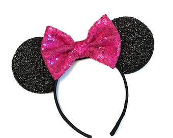 Magenta Pink  Mickey Ears - Pink Minnie Mouse Ears, Sparkly Mickey Ears Headband, Sparkle Mouse Ears, Sparkle Minnie Ears - Minnie Party