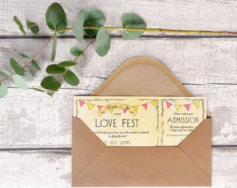Festival Ticket Style Wedding Invitation | Double-sided with Perforated RSVP stubb | Sample Invite