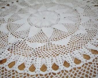 Big cotton crocheted white doily Hand made round traycloth Lacework lace napkin Crochet Shabby Chic Made in Poland Polish folk art 80s