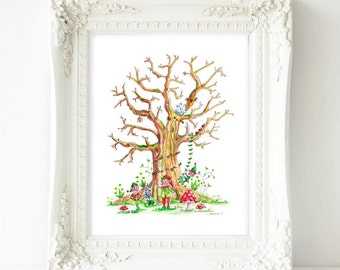 Fingerprint Guestbook Tree Print Custom A4 Wedding tree Baby Shower tree Elves Anniversary guestbook Family tree