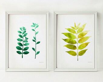 Green leaves Plant prints, Instant download Botanical prints, Green wall decor Set of prints, 5x7 PRINTABLE wall set, Green art, Shelf decor