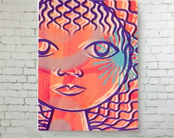 Portrait Print on Canvas, Home Decor, Modern Art, Wall Art, silkscreen reproduction high quality print on canvas ready to hang
