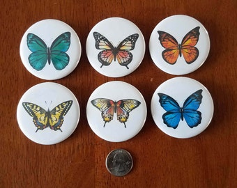 Butterflies!  Spring and Gardening is coming! Set of 6 buttons/magnets